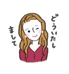 秋・冬カラーのカラフルガール(個別スタンプ:05)