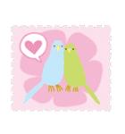ネコと小鳥の切手スタンプ(個別スタンプ:5)