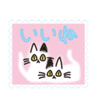 ネコと小鳥の切手スタンプ(個別スタンプ:6)
