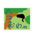ネコと小鳥の切手スタンプ(個別スタンプ:27)
