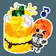 かぼちゃのスイーツと小人達のスタンプ