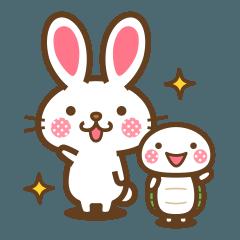 ウサギとカメのふきだし文字スタンプ
