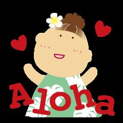 Aloha Girl & Bear【ハワイ語】