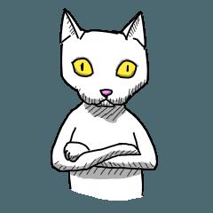 2足歩行の白い猫「神田」