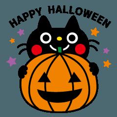 黒猫くろすけのハロウィンスタンプ
