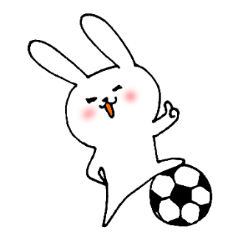 サッカー大好き白うさぎ