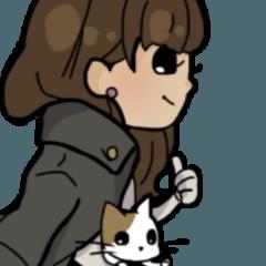 お姉さんと猫ちゃん