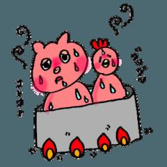 可愛い鳥と豚カップル