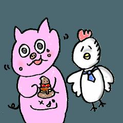 可愛い鳥と豚カップル2