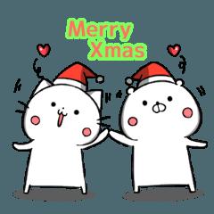 シロクマネコさんクリスマススタンプ