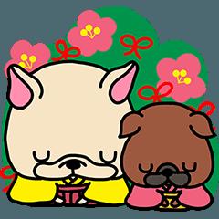 フレブルちゃんと梅ちゃんの冬スタンプ