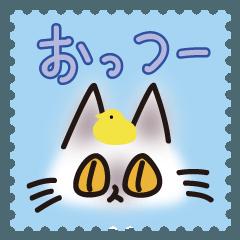 ネコと小鳥の切手スタンプ