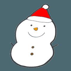 クリスマス、お正月、白いふわふわワンコ