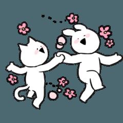 [LINEスタンプ] すこぶる動くウサギとネコ (1)