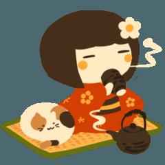 ほのぼの梅子ちゃんと猫さん