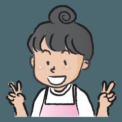 Pink apron girl