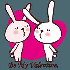 バレンタイン用のうさぎカップルスタンプ